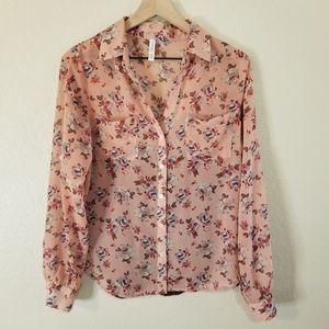 3/$15 Xhilaration Floral Chiffon Lace Blouse Shirt